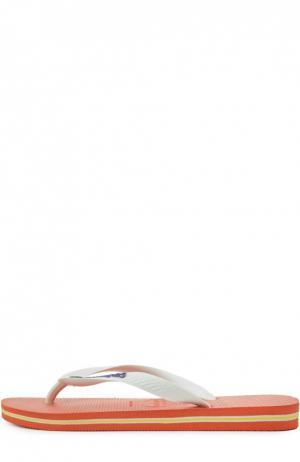 Резиновые шлепанцы Brasil Logo Havaianas. Цвет: оранжевый