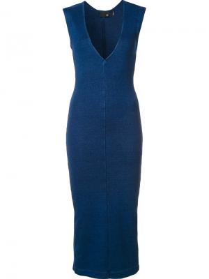 Трикотажное платье Ag Jeans. Цвет: синий