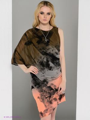 Платье Religion. Цвет: коричневый, персиковый, серый