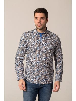 Рубашка John Jeniford. Цвет: синий, коричневый, белый