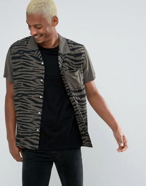 HUF Рубашка классического кроя с принтом. Цвет: зеленый