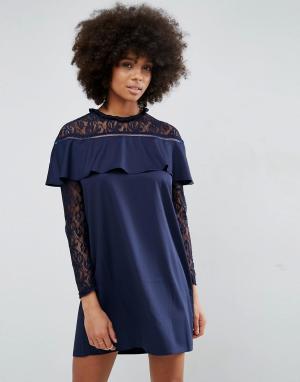 Unique 21 Платье с кружевом и рюшами Unique21. Цвет: темно-синий