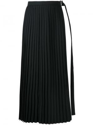 Slit pleated apron skirt Taro Horiuchi. Цвет: чёрный