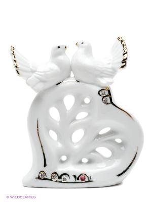 Фигурка декоративная Голуби на сердце Elan Gallery. Цвет: белый, золотистый