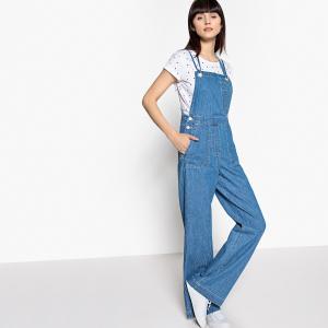 Комбинезон широкого покроя из джинсовой ткани с перекрещивающимися бретелями La Redoute Collections. Цвет: голубой потертый