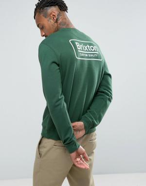 Brixton Свитшот с логотипом на спине. Цвет: зеленый