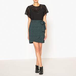 Блузка с короткими рукавами и кружевом IKKS. Цвет: черный