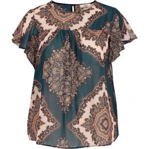 Блузка с рисунком ZIZZI. Цвет: рисунок/зеленый,рисунок/серый