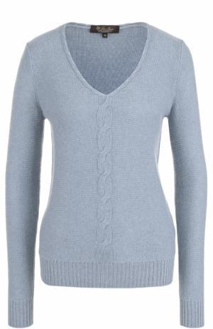 Кашемировый пуловер с V-образным вырезом и фактурной отделкой Loro Piana. Цвет: синий