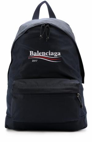 Текстильный рюкзак Explorer с логотипом бренда Balenciaga. Цвет: синий