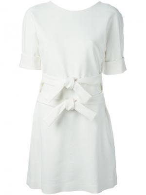 Платье с двойным поясом And Re Walker. Цвет: белый