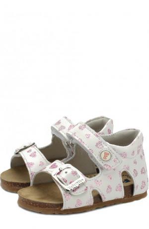 Кожаные сандалии с застежками велькро и глиттером Falcotto. Цвет: разноцветный
