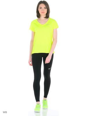 Футболка W NK DRY MILER TOP V-NECK Nike. Цвет: лазурный