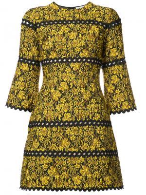 Платье с цветчоным принтом Sidhu Sachin & Babi. Цвет: жёлтый и оранжевый