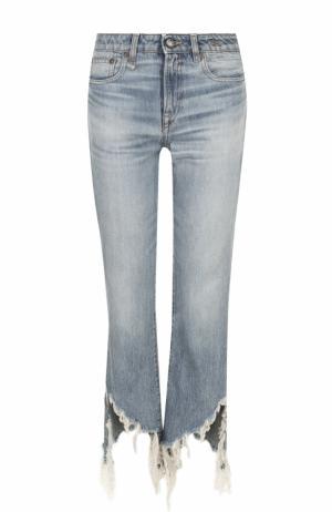 Укороченные расклешенные брюки с потертостями R13. Цвет: синий