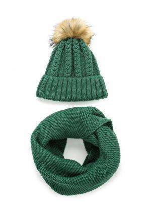 Комплект снуд и шапка Fete. Цвет: зеленый