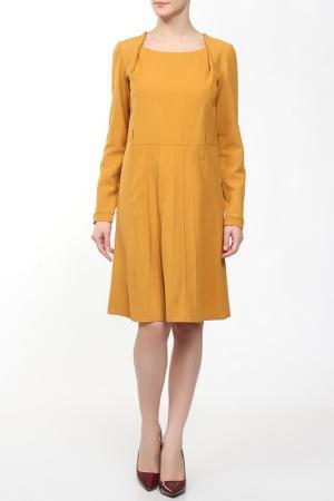 Платье длиной до колена с рукавами ANNA SINITSYNA. Цвет: оранжевый