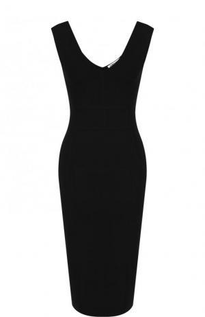 Однотонное платье-футляр с V-образным вырезом Elizabeth and James. Цвет: черный