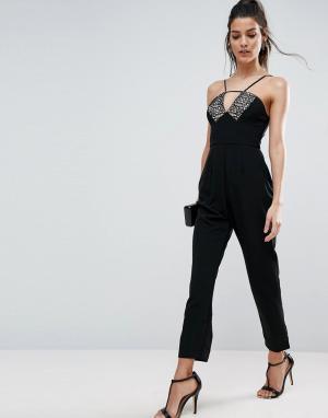 ASOS Комбинезон с кружевом и широкими брюками со складками. Цвет: черный