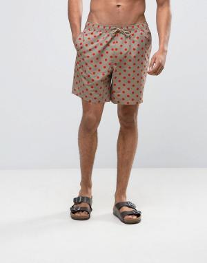ASOS Светло-бежевые шорты для плавания средней длины в горошек. Цвет: бежевый