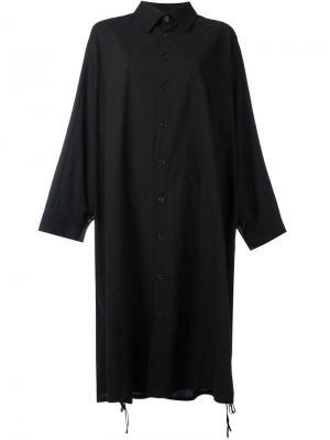 Состаренное платье-рубашка  Ys Y's. Цвет: чёрный