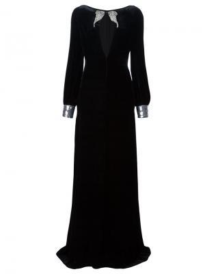 Декорированное длинное платье Roberto Cavalli. Цвет: чёрный