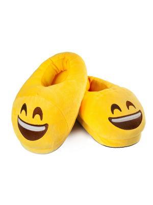 Тапки-смайлики Веселый SOXshop. Цвет: желтый