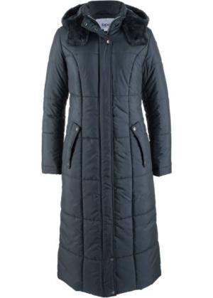 Легкая стеганая куртка длинного покроя (ночная синь) bonprix. Цвет: ночная синь