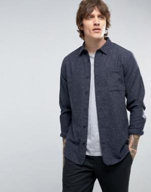 Hoxton Shirt Company Рубашка узкого кроя в крапинку. Цвет: серый