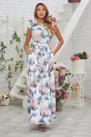 Платье-макси с цветочным принтом и поясом Vittoria Vicci. Цвет: молочный