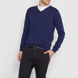 Пуловер с V-образным вырезом, 100% хлопка R essentiel. Цвет: сине-зеленый меланж