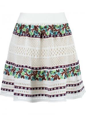 Вязаная крючком юбка Cecilia Prado. Цвет: белый