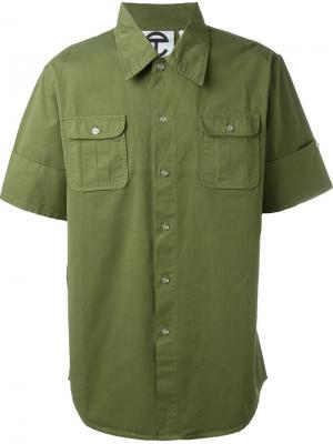Рубашка с нагрудными карманами Telfar. Цвет: зелёный