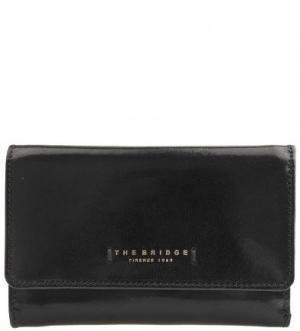 Черный кошелек из натуральной кожи The Bridge. Цвет: черный