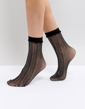 Leg Avenue Блестящие сетчатые носки. Цвет: мульти