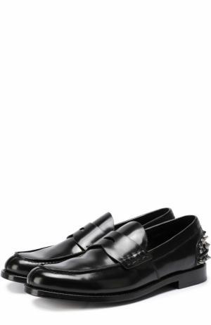 Кожаные пенни-лоферы с декоративной отделкой задника Coach. Цвет: черный