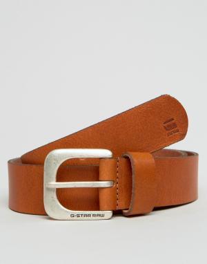 G-Star Светло-коричневый кожаный ремень Zed. Цвет: рыжий