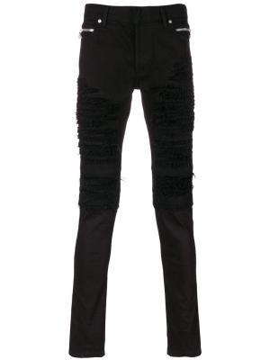 Рваные джинсы в байкерском стиле Balmain. Цвет: чёрный