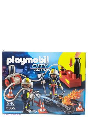 Пожарная служба Пожарники с водяным насосом Playmobil. Цвет: синий