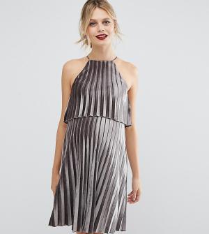 ASOS Maternity Плиссированное бархатное платье мини для беременных с кроп-топом. Цвет: серый
