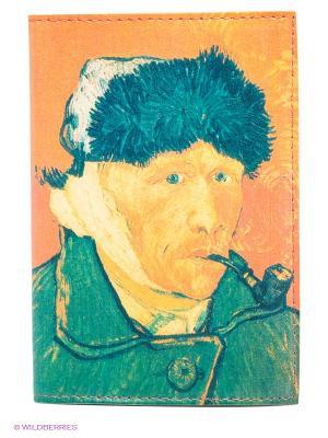 Обложка для автодокументов Ван Гог портрет Mitya Veselkov. Цвет: зеленый, желтый