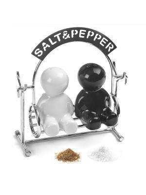 Солонка и перечница Salt&Pepper Balvi. Цвет: черный, серебристый, белый