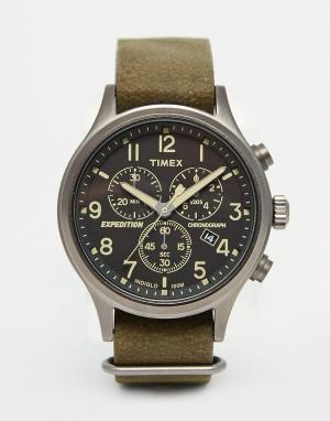 Timex Зеленые часы-хронограф Expedition Scout TW4B04100. Цвет: зеленый
