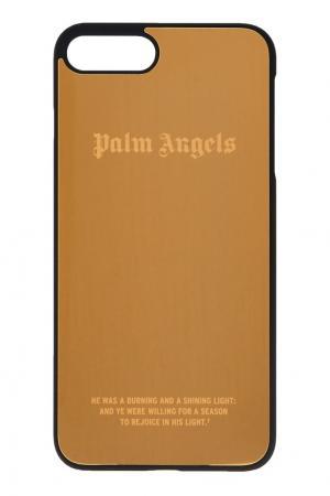 Зеркальный чехол для iPhone 7 plus золотой Palm Angels. Цвет: золотой
