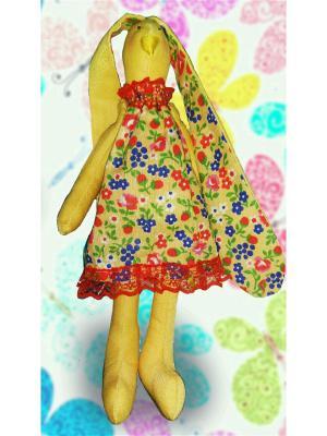Плюшевый зайка в цветном сарафане МИЛИСА. Цвет: бежевый