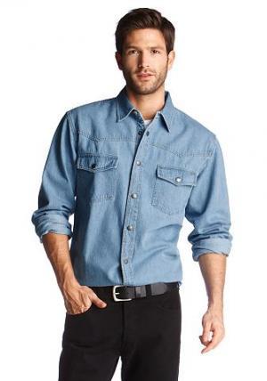 Джинсовая рубашка, Arizona. Цвет: синий выбеленный