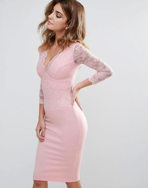 City Goddess Кружевное платье-футляр с длинными рукавами и V-образным вырезом. Цвет: розовый