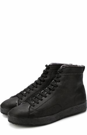 Высокие кожаные кеды на шнуровке с внутренней меховой отделкой Officine Creative. Цвет: черный