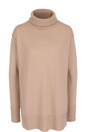 Однотонный свитер из смеси шерсти и кашемира Allude. Цвет: бежевый