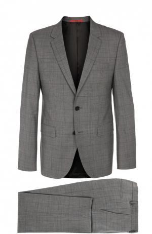 Шерстяной костюм в клетку Glen HUGO. Цвет: серый